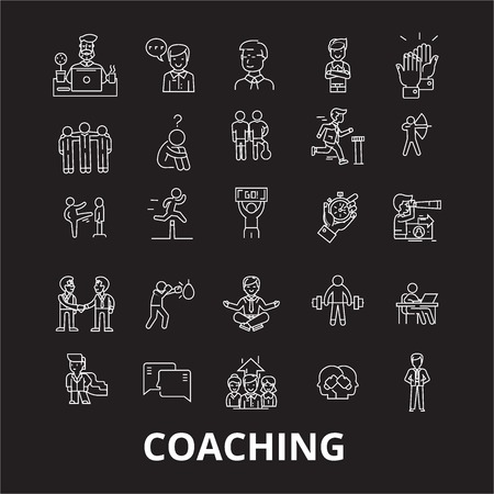 Coaching editable line icons vector set on black background. Coaching white outline illustrations, signs,symbols Illustration