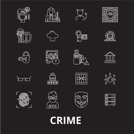 Crime editable line icons vector set on black background. Crime white outline illustrations, signs,symbols