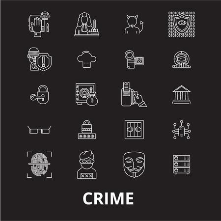 Crime editable line icons vector set on black background. Crime white outline illustrations, signs,symbols