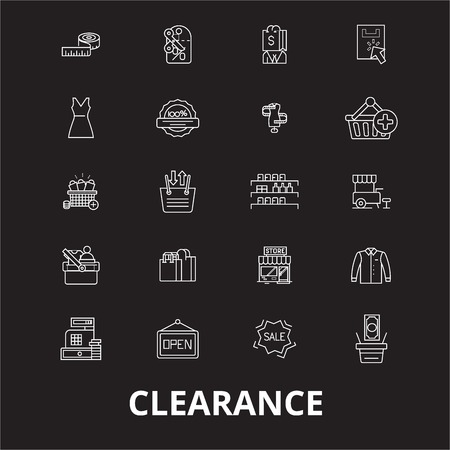 Clearance editable line icons vector set on black background. Clearance white outline illustrations, signs,symbols
