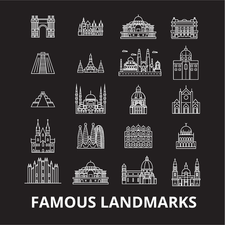 Famous landmarks editable line icons vector set on black background. Famous landmarks white outline illustrations, signs,symbols  イラスト・ベクター素材