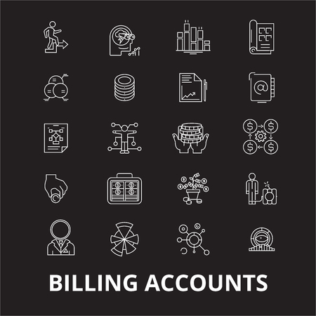 Billing accounts editable line icons vector set on black background. Billing accounts white outline illustrations, signs,symbols