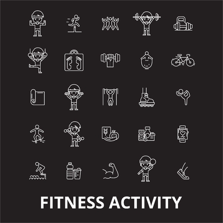 Fitness activity editable line icons vector set on black background. Fitness activity white outline illustrations, signs,symbols Stock Vector - 114822617