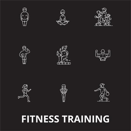 Fitness training editable line icons vector set on black background. Fitness training white outline illustrations, signs,symbols