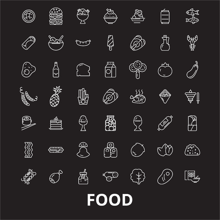 Food editable line icons vector set on black background. Food white outline illustrations, signs,symbols Illustration