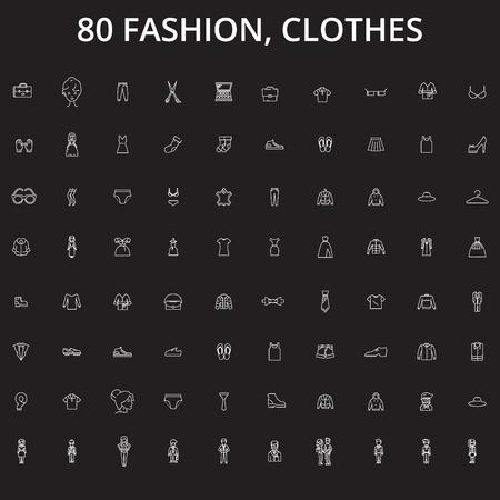 Fashion, clothes editable line icons vector set on black background. Fashion, clothes white outline illustrations, signs,symbols Banque d'images - 126636507