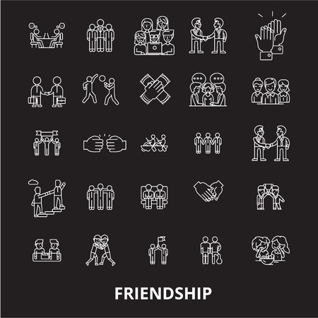 Friendship editable line icons vector set on black background. Friendship white outline illustrations, signs,symbols Vettoriali
