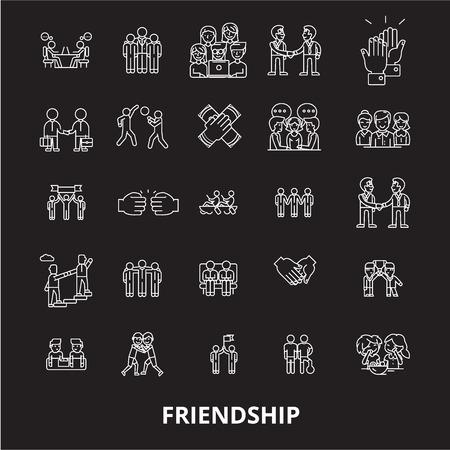 Vecteur d'icônes de ligne modifiable d'amitié sur fond noir. Amitié contour blanc illustrations, signes, symboles