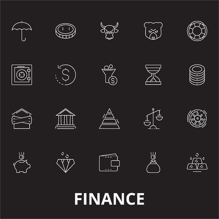 Finance editable line icons vector set on black background. Finance white outline illustrations, signs,symbols 일러스트