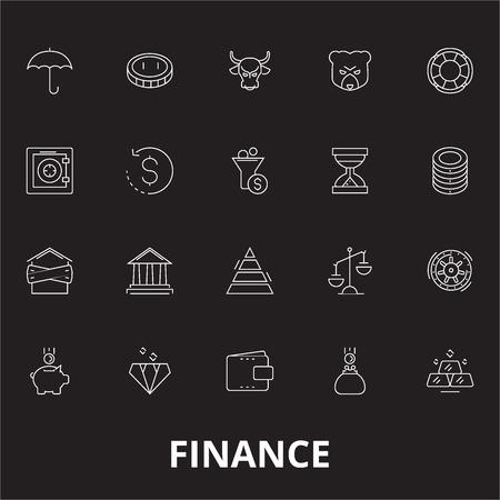 Finance editable line icons vector set on black background. Finance white outline illustrations, signs,symbols Illustration