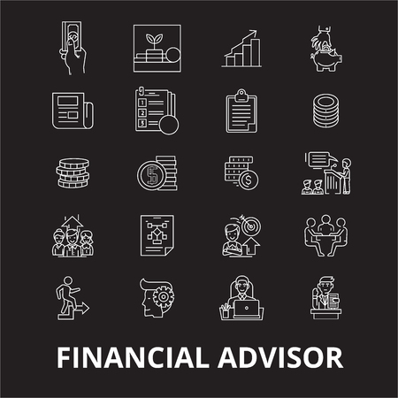Financial advisor editable line icons vector set on black background. Financial advisor white outline illustrations, signs,symbols