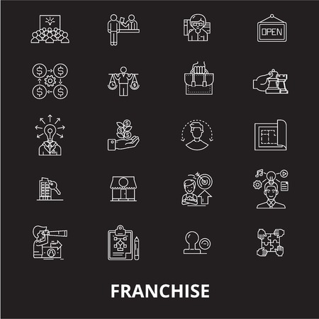 Franchise editable line icons vector set on black background. Franchise white outline illustrations, signs,symbols Illustration