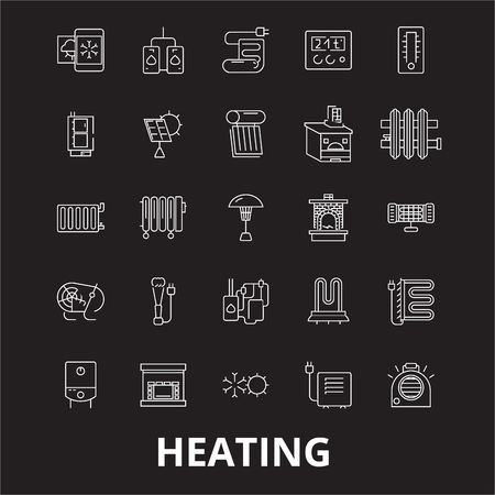 Heating editable line icons vector set on black background. Heating white outline illustrations, signs,symbols