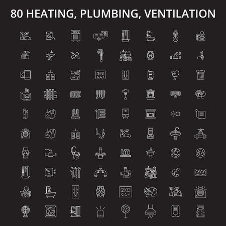 Heating, plumbing, ventilation editable line icons vector set on black background. Heating, plumbing, ventilation white outline illustrations, signs,symbols
