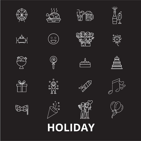 Holidays editable line icons vector set on black background. Holidays white outline illustrations, signs,symbols