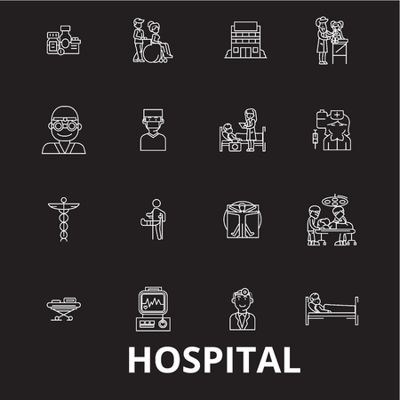 Hospital editable line icons vector set on black background. Hospital white outline illustrations, signs,symbols