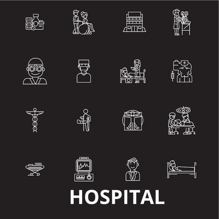 Hospital editable line icons vector set on black background. Hospital white outline illustrations, signs,symbols