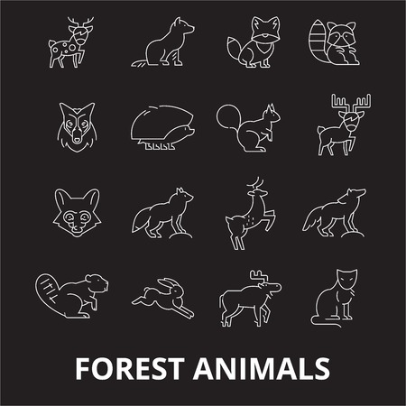 Forest animals editable line icons vector set on black background. Forest animals white outline illustrations, signs,symbols