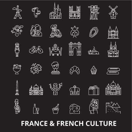 France editable line icons vector set on black background. France white outline illustrations, signs,symbols Illustration