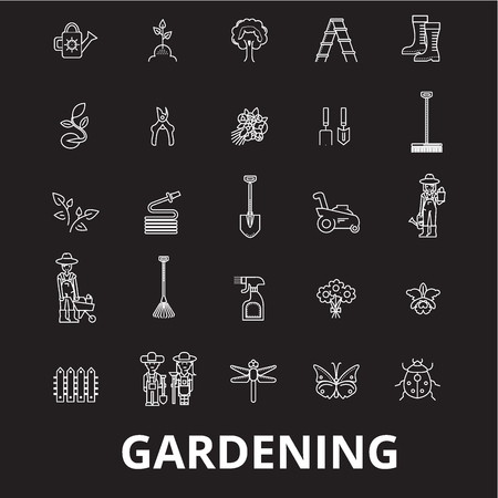 Gardening editable line icons vector set on black background. Gardening white outline illustrations, signs,symbols