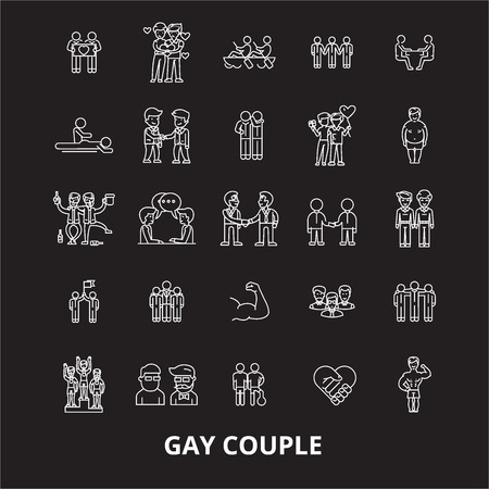 Gay couple editable line icons vector set on black background. Gay couple white outline illustrations, signs,symbols