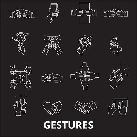 Gestures editable line icons vector set on black background. Gestures white outline illustrations, signs,symbols
