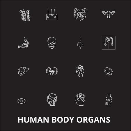 Menschliche Körperorgane bearbeitbare Linie Icons Vektor auf schwarzem Hintergrund gesetzt. Abbildungen, Zeichen, Symbole der menschlichen Organe mit weißem Umriss Vektorgrafik