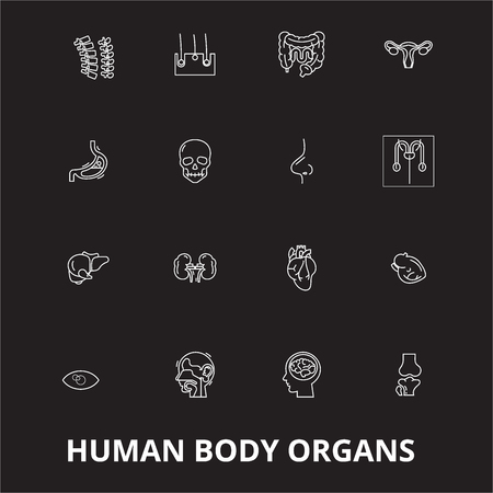 Human body organs editable line icons vector set on black background. Human body organs white outline illustrations, signs,symbols