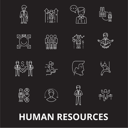 Human resources editable line icons vector set on black background. Human resources white outline illustrations, signs,symbols Illustration