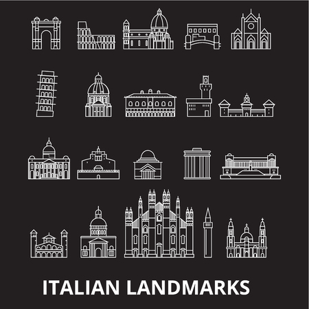 Italian landmakrs editable line icons vector set on black background. Italian landmakrs white outline illustrations, signs,symbols