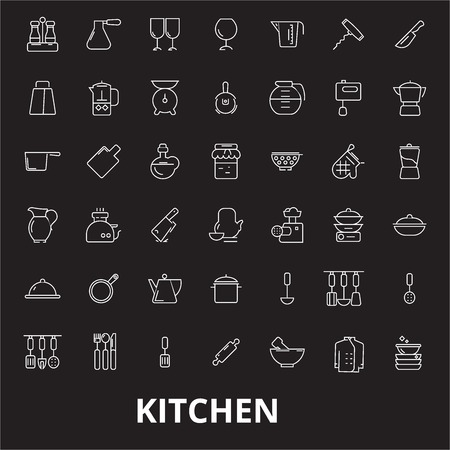 Kitchen editable line icons vector set on black background. Kitchen white outline illustrations, signs,symbols