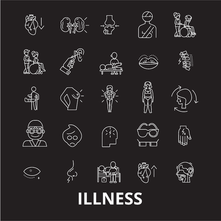 Illness editable line icons vector set on black background. Illness white outline illustrations, signs,symbols