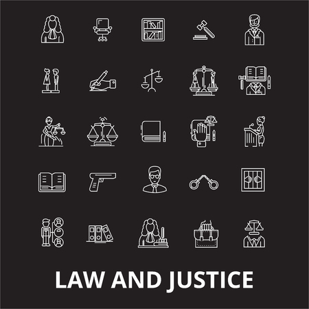 Law and justice editable line icons vector set on black background. Law and justice white outline illustrations, signs,symbols