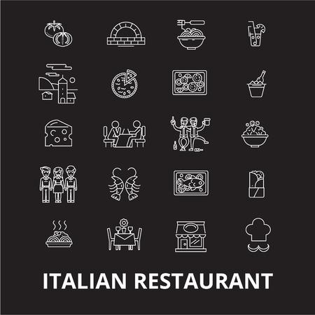 Italian restaurant editable line icons vector set on black background. Italian restaurant white outline illustrations, signs,symbols Standard-Bild - 114822945