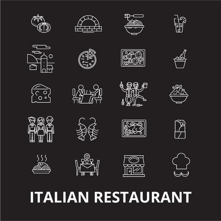 Italian restaurant editable line icons vector set on black background. Italian restaurant white outline illustrations, signs,symbols