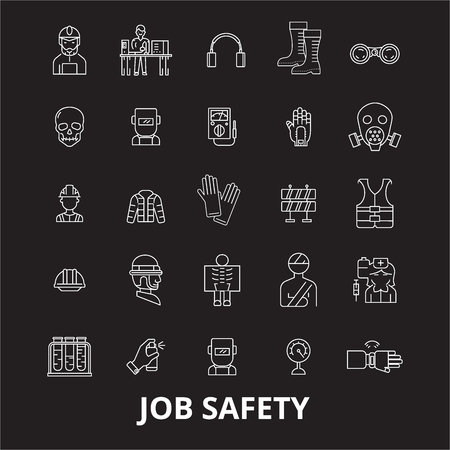 Job safety editable line icons vector set on black background. Job safety white outline illustrations, signs,symbols