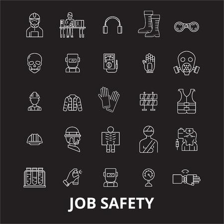 Vecteur d'icônes de ligne modifiable de sécurité d'emploi sur fond noir. Illustrations, signes, symboles de contour blanc de sécurité au travail Vecteurs