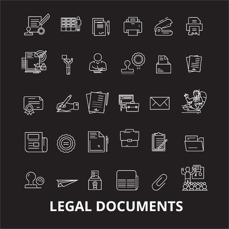 Legal documents editable line icons vector set on black background. Legal documents white outline illustrations, signs,symbols 向量圖像
