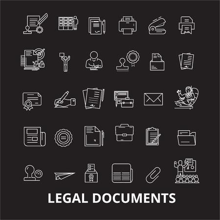Legal documents editable line icons vector set on black background. Legal documents white outline illustrations, signs,symbols Illustration
