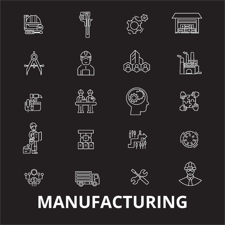 Manufacturing editable line icons vector set on black background. Manufacturing white outline illustrations, signs,symbols