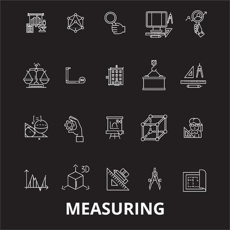 Measuring editable line icons vector set on black background. Measuring white outline illustrations, signs,symbols