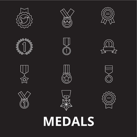 Medals editable line icons vector set on black background. Medals white outline illustrations, signs,symbols