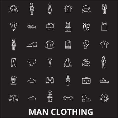 Man clothing editable line icons vector set on black background. Man clothing white outline illustrations, signs,symbols Illustration