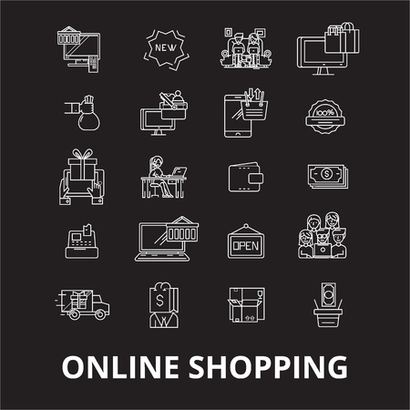 Online shopping  editable line icons vector set on black background. Online shopping  white outline illustrations, signs,symbols