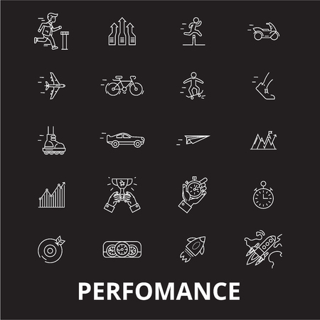 Perfomance editable line icons vector set on black background. Perfomance white outline illustrations, signs,symbols