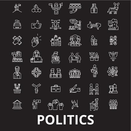 Vecteur d'icônes de ligne modifiable politique sur fond noir. Politique contour blanc illustrations, signes, symboles