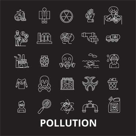 Pollution editable line icons vector set on black background. Pollution white outline illustrations, signs,symbols