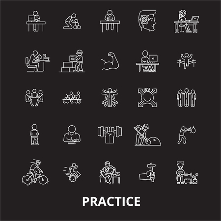 Practice editable line icons vector set on black background. Practice white outline illustrations, signs,symbols Illustration