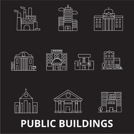 Public buildings editable line icons vector set on black background. Public buildings white outline illustrations, signs,symbols
