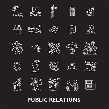 Public relations editable line icons vector set on black background. Public relations white outline illustrations, signs,symbols Illustration